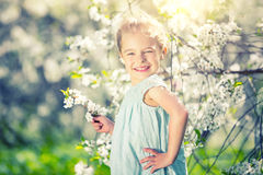 Happy little girl in cherry blossom garden. Happy little girl playing in spring cherry garden Royalty Free Stock Photos