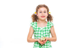 Happy little girl with chickens Stock Image