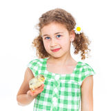 Happy little girl with chickens Royalty Free Stock Photos