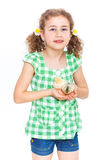 Happy little girl with chickens Stock Photos