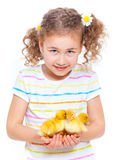 Happy little girl with chickens Royalty Free Stock Photo