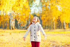Happy little girl child playing having fun with yellow leafs in sunny autumn Stock Image