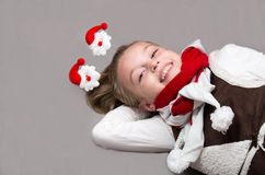 Happy little girl in Christmas Eve. Royalty Free Stock Photo