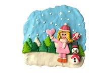 Happy little girl with Christmas festival, cute snowman plasticine clay dough stock photos