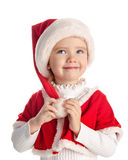 Happy little girl with christmas hat Royalty Free Stock Photos