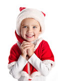 Happy little girl with christmas hat Stock Photo