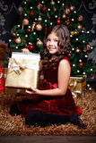 Happy little girl at Christmas Royalty Free Stock Image