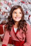 Happy little girl at Christmas Royalty Free Stock Images
