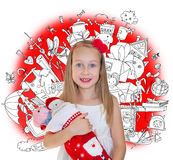 Happy little girl with Christmas presents Stock Photos