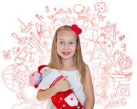 Happy little girl with Christmas presents Royalty Free Stock Photo