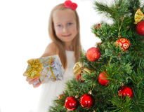 Happy little girl with Christmas presents Royalty Free Stock Photos