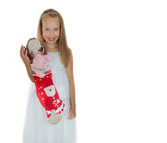 Happy little girl with Christmas presents Stock Image