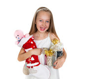 Happy little girl with Christmas presents Stock Photography