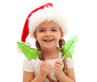 Happy little girl at christmas time Stock Photography