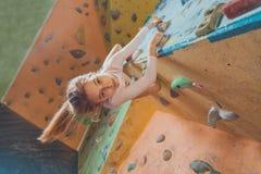 Happy little girl climbing indoor Stock Images