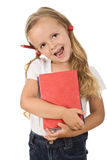 Happy little girl with colorful books and pencil Royalty Free Stock Photo