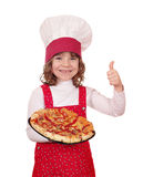 Little girl cook with pizza Royalty Free Stock Images