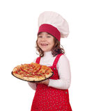 Little girl cook with pizza on white Stock Photo