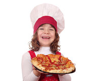 Happy little girl cook with pizza Royalty Free Stock Photo