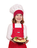 Happy little girl cook with spaghetti Stock Image