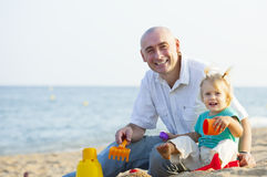 Happy little girl with dad royalty free stock photography