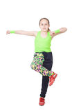 Happy little girl dancing hip-hop Stock Images