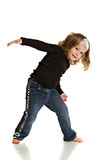 Happy Little Girl Dancing Pose on White Background Royalty Free Stock Photo