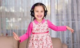 Happy Little Girl Dancing Royalty Free Stock Photos