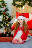 Happy Little girl and dog at Christmas Stock Image