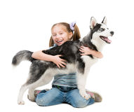 Happy little girl and dog Husky Royalty Free Stock Photos