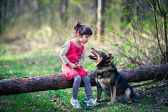 Happy little girl with dog Stock Photography
