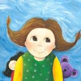 Happy little girl with doll and teddybear. Acrylic illustration of the happy little girl with doll and teddybear Stock Photos