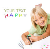 Happy Little Girl Drawing Royalty Free Stock Photos