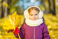 Happy little girl in earflaps with autumn leaves Royalty Free Stock Photography