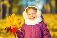Happy little girl in earflaps with autumn leaves. In the park Stock Image