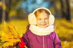 Happy little girl in earflaps with autumn leaves. In the park Royalty Free Stock Photos