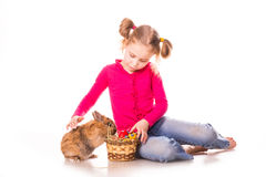 Happy little girl with easter bunny and eggs. Happy Easter Royalty Free Stock Photo