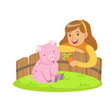 Happy little girl feeding pink pig with carrot in a mini zoo. Colorful cartoon character vector Illustration Stock Image