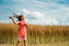 Happy little girl in a field of ripe rapeseed stock image