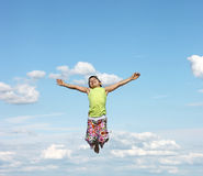 Happy little girl flying Royalty Free Stock Images