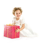 Happy little girl with a  gift Stock Images