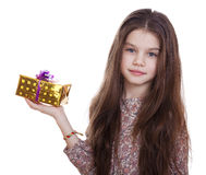 Happy little girl with gift box Royalty Free Stock Photos
