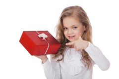 Happy little girl with gift box Stock Photography