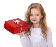 Happy little girl with gift box Royalty Free Stock Images