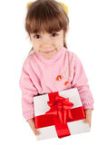 Happy little girl with giftbox Stock Image