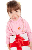 Happy little girl with giftbox Royalty Free Stock Images