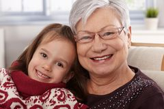Happy little girl with grandmother Stock Image