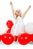 Happy little girl with hands up Stock Photos