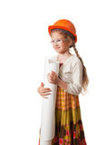 Happy little girl in the hardhat. Happy little girl in the helmet holding a roll of drawings stock image