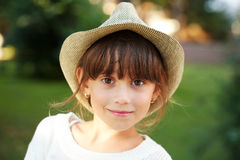 Happy little girl in a hat Royalty Free Stock Photography